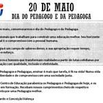 20 DE MAIO DIA DO PEDAGOGO E DA PEDAGOGA